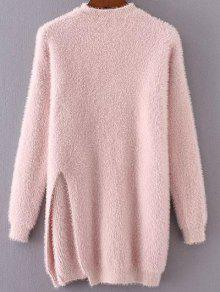 Slit Mock Neck Fuzzy Sweater - Pink