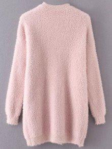 Slit Mock Neck Fuzzy Sweater PINK: Sweaters ONE SIZE | ZAFUL