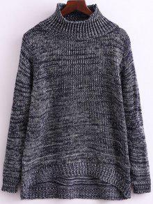 Heathered Funnel Neck Knitwear - Gray