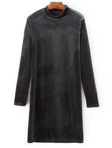 Mock Neck Long Sleeves Velvet Dress - Gray L