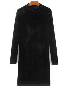 Medio Cuello Del Vestido Largo De Terciopelo Mangas - Negro S