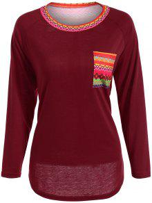 Pocket Round Neck Printed Tunic T-Shirt - Red S