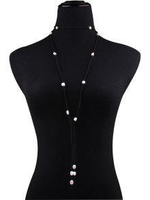 Collar De Terciopelo Perla Artificial Del Bowknot - Negro