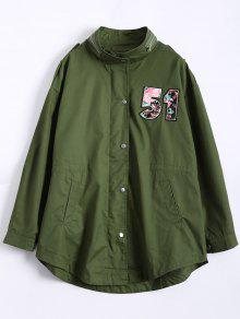 Plus Size Number Patch Utility Trench Coat - Army Green 3xl