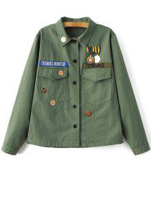 Chevron Shirt Jacket - Green M