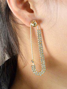ONE PIECE Rhinestoned Pin Earring - Golden