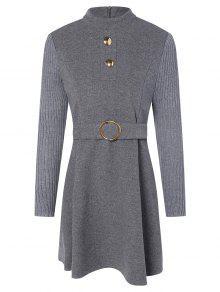 فستان كوكتيل رائع، على شكل حرف (أيه) - رمادي M