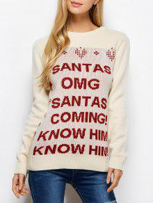 Letter Crew Neck Christmas Pullover Sweater - Palomino M