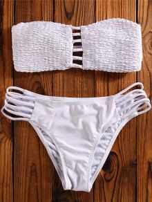 Cut Out Tube Bikini Swimwear - White S