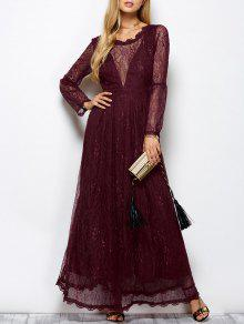 Floral Lace Evening Dress - Wine Red S