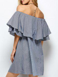 Checked Off The Shoulder Ruffle Dress - Blue And White S