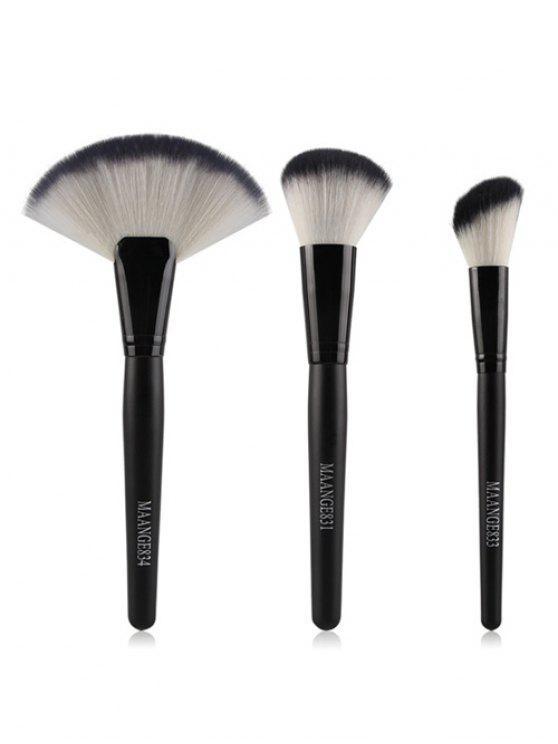 3 PC del maquillaje facial cepillos del nilón - Negro