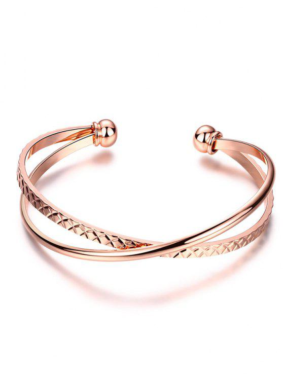 latest Crossover Engraved Bracelet - ROSE GOLD