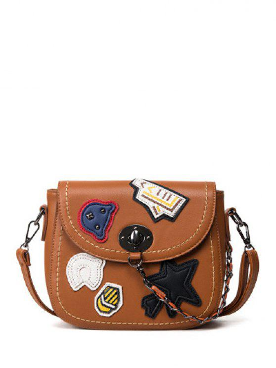 trendy Patches Chains Crossbody Bag - BROWN