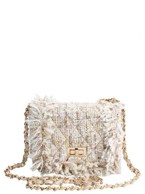 chic Chain Argyle Twist-Lock Closure Crossbody Bag - OFF-WHITE