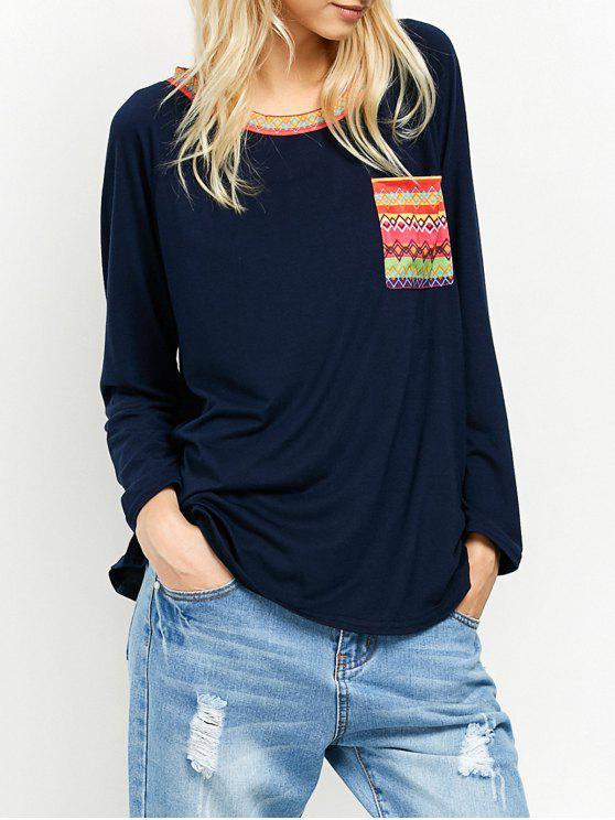 Bolsillo de la túnica de cuello redondo impresa de la camiseta - Azul Marino  M