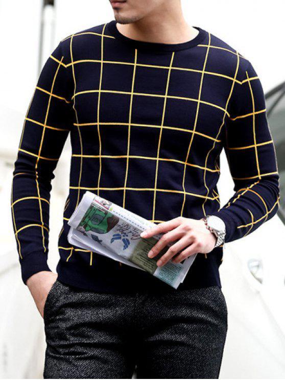 Slim Fit Crew Neck Grille Sweater - Bleu Violet 2XL