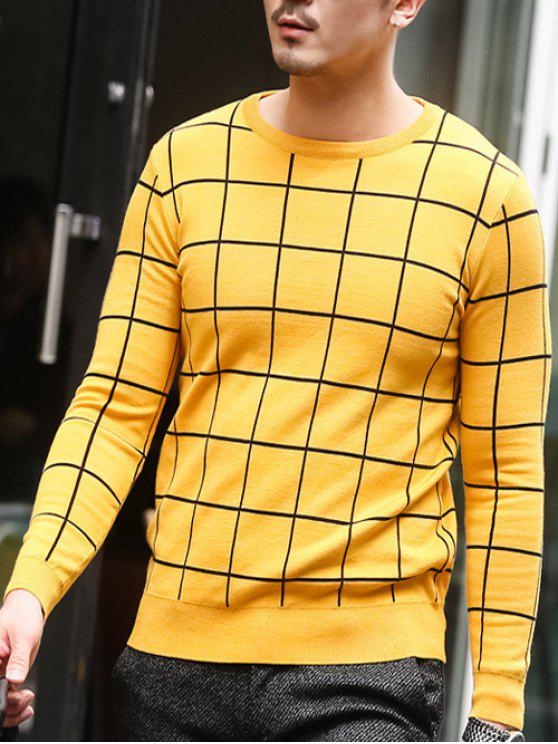 affordable Slim Fit Crew Neck Grid Sweater - YELLOW 2XL