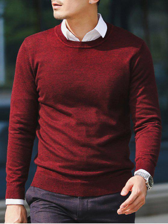 Slim Fit Crew Neck Pull Tricots - Rouge vineux  L