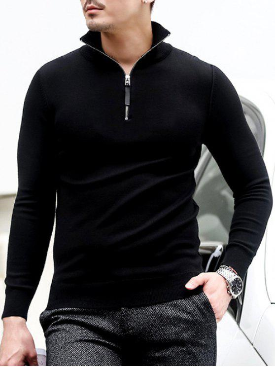fashion Slim Fit Half Zip Polo Sweater - BLACK XL