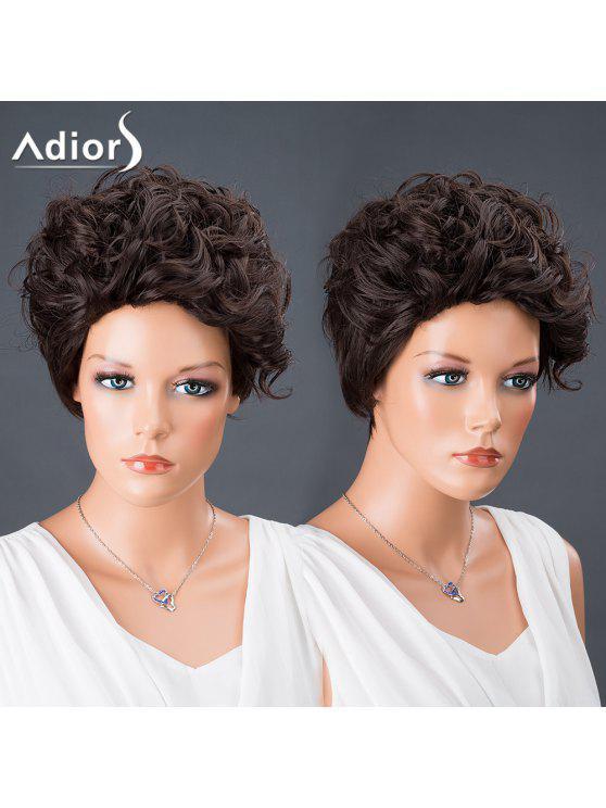أديورس الشعر بيكسي قص قصيرة مجعد الباروكة الاصطناعية - أسود