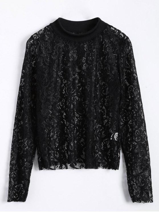 shop Long Slevee High Neck Lace Blouse - BLACK L