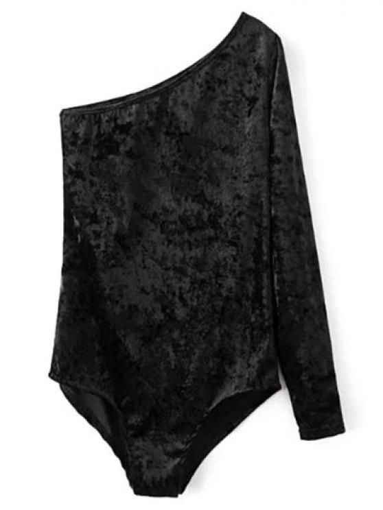 Body en velours une manche col oblique - Noir L