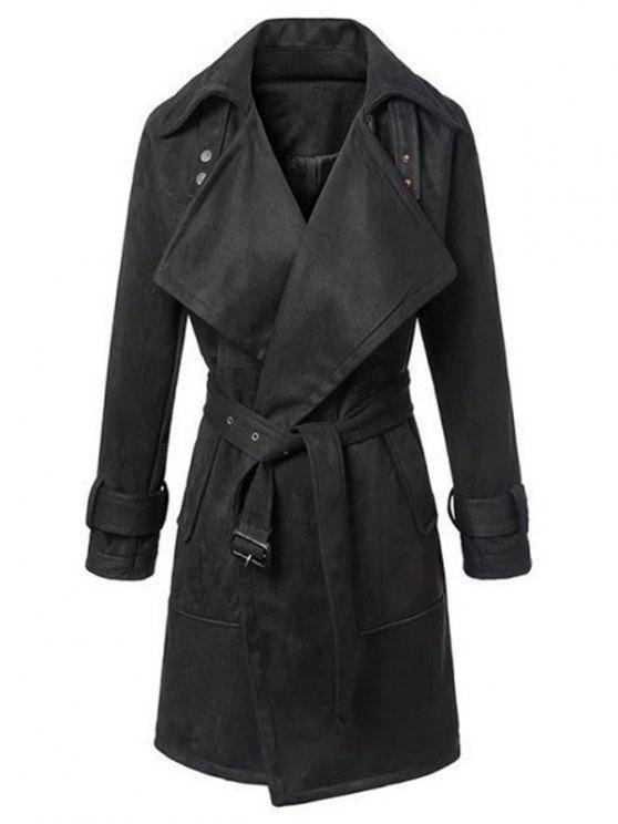 Manteau patineur en suédé ceinturé drapé - Noir L