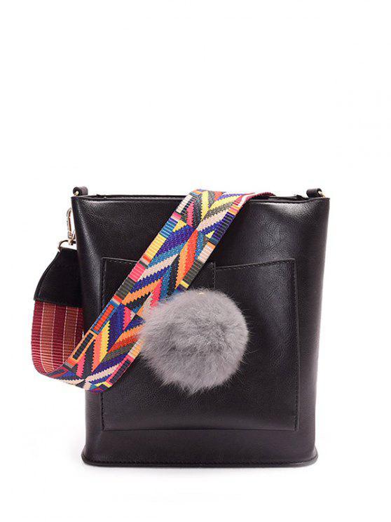 online Colorful Strap Pompon Shoulder Bag - BLACK