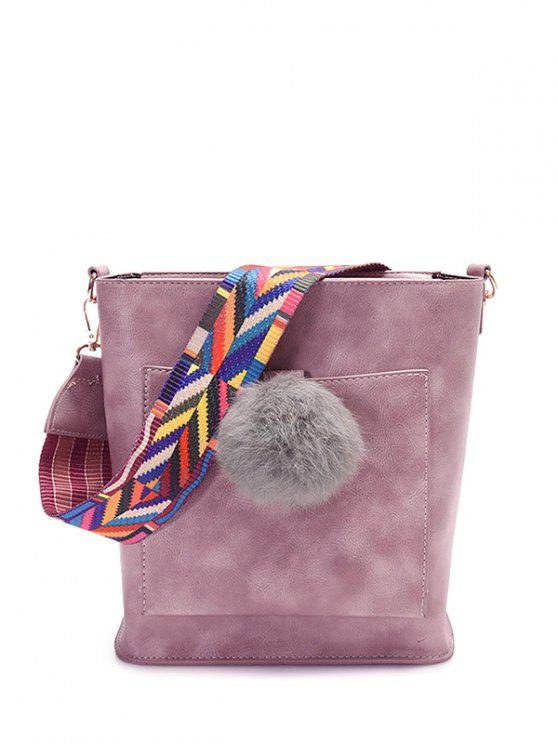 hot Colorful Strap Pompon Shoulder Bag - PINK