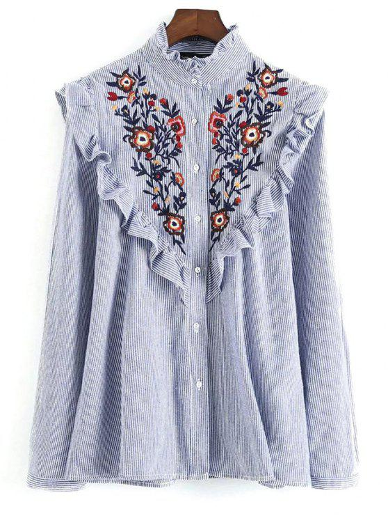 unique Embroidered Bib Frilled Shirt - BLUE AND WHITE M