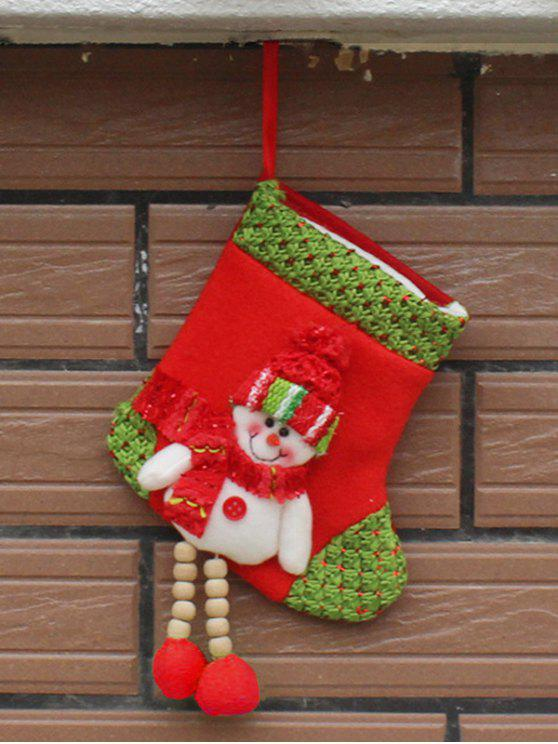 affordable Christmas Snowman Hanging Candy Present Sock - WHITE