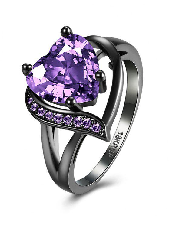 Anillo de la forma del corazón rhinestoned - Púrpura 6