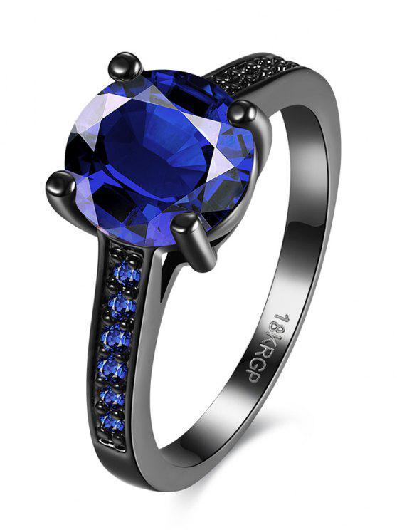 shop Faux Gemstone Finger Ring - BLUE 6