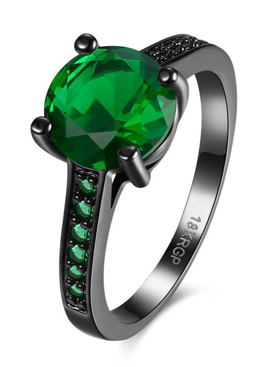 shops Faux Gemstone Finger Ring - GREEN 7