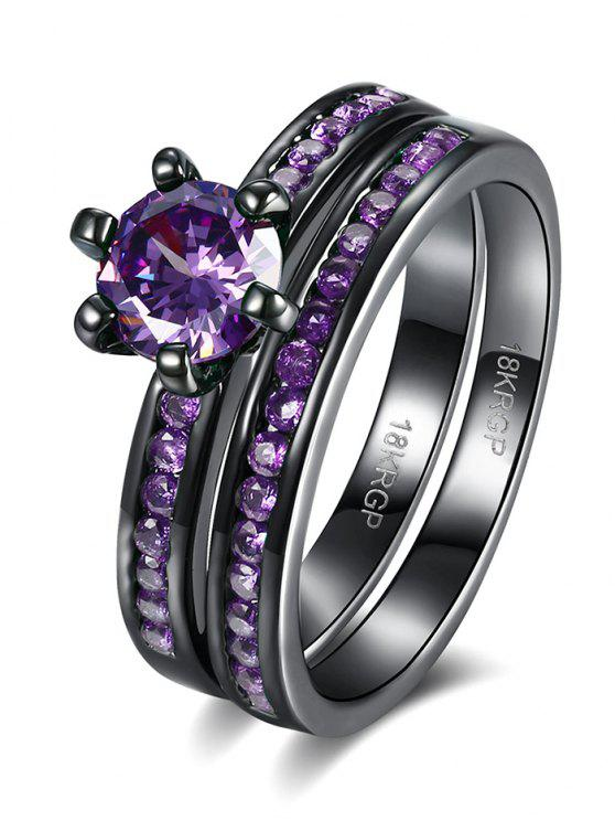 women 2PCS Rhinestoned Rings - PURPLE 6