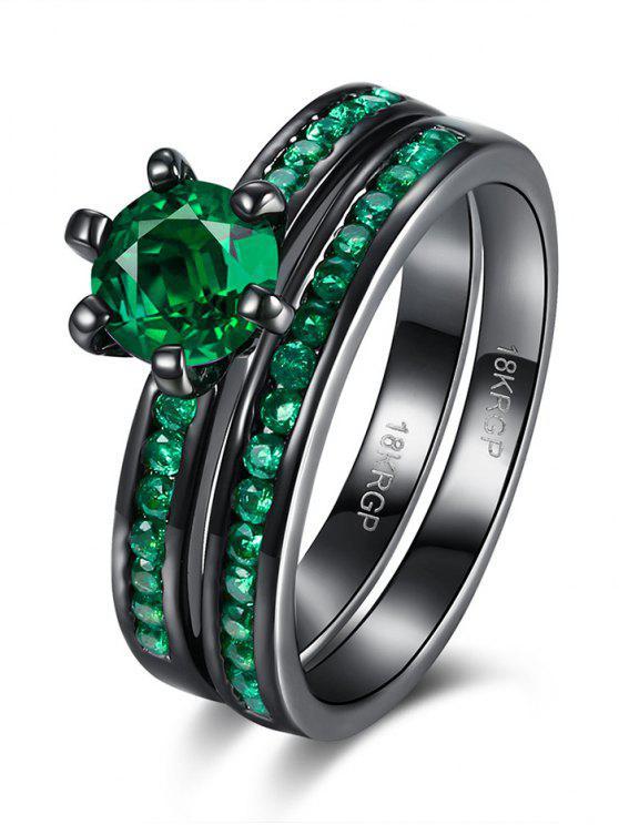 women's 2PCS Rhinestoned Rings - GREEN 7