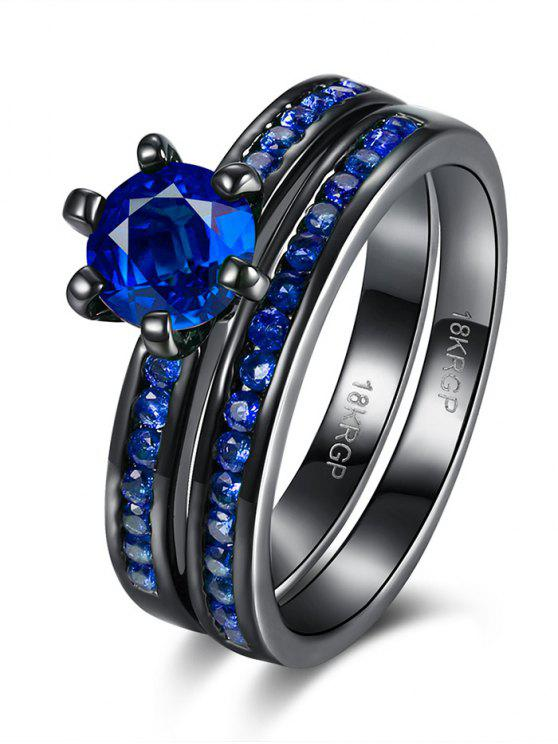 lady 2PCS Rhinestoned Rings - BLUE 7
