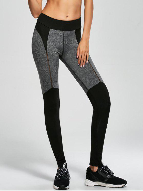 shop Color Block Sports Running Leggings - BLACK S