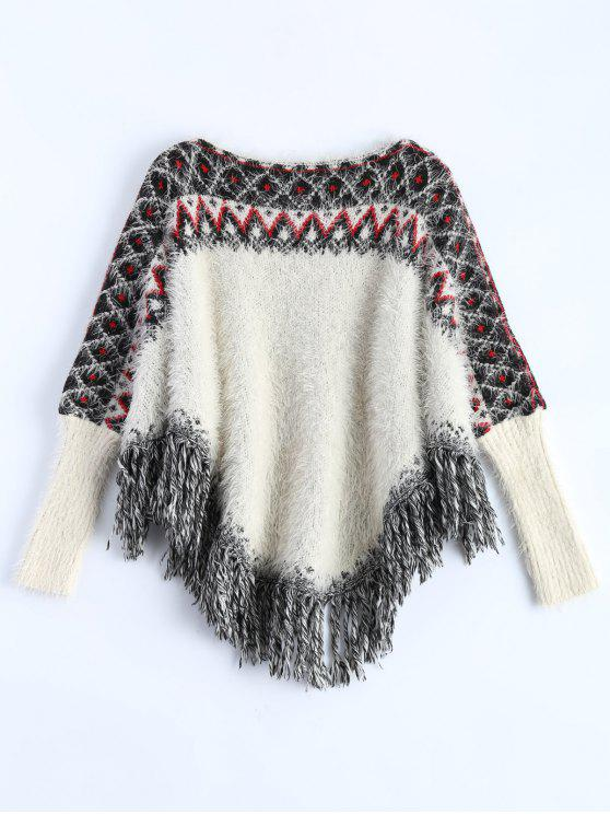 fancy Fluffy Batwing Sweater - WHITE ONE SIZE