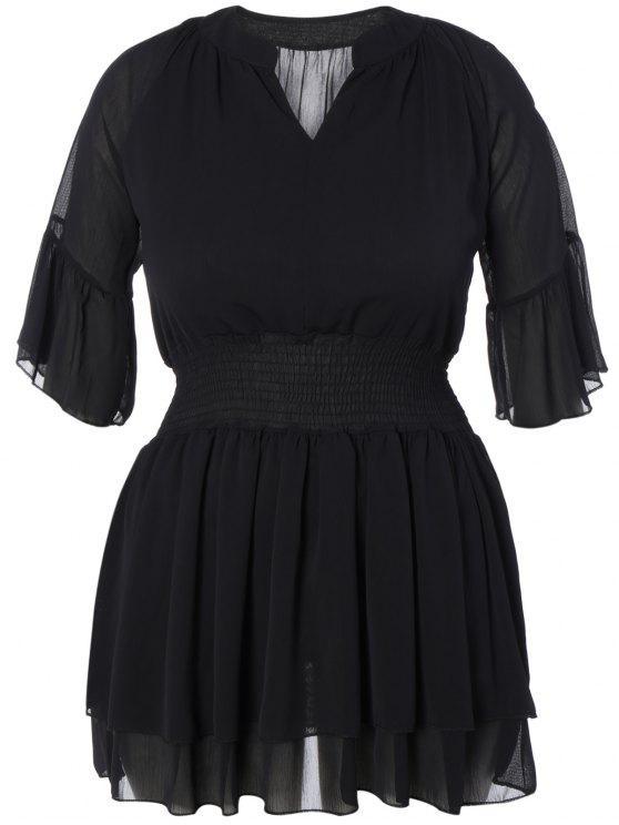 fashion V Neck Shirred Cold Shoulder Dress - BLACK XL