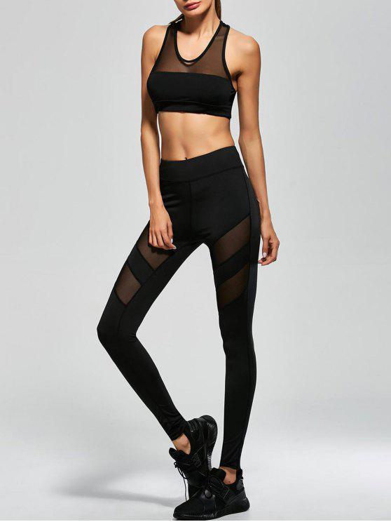 Traje de Yoga Sudadera de Malla con Entredós sin Manga + Pantalones Elásticos - Negro S