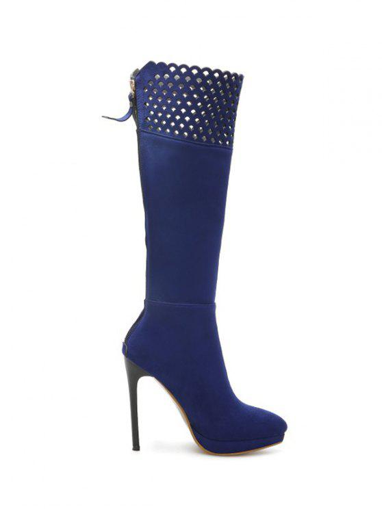 trendy Hollow Out Zipper Platform Boots - BLUE 37