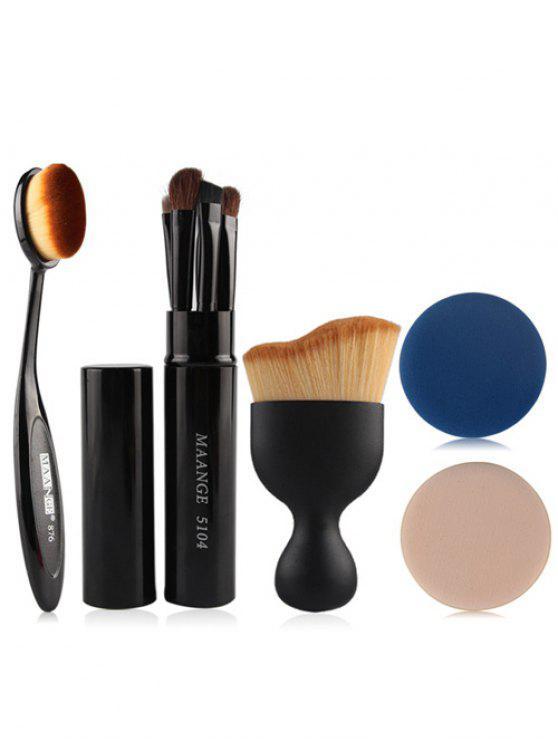 affordable 5 Pcs Eye Makeup Brushes Kit + Foundation Brush + Curved Blush Brush + Air Puffs - BLACK