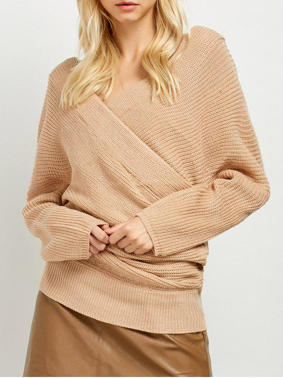 lady Wrap Front Sweater - KHAKI ONE SIZE