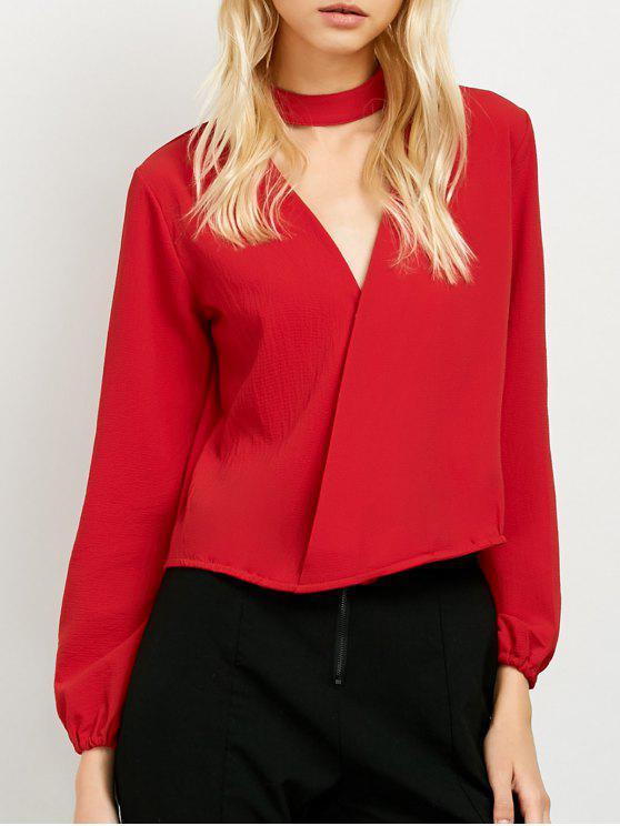 unique Long Sleeve Chiffon Surplice Choker Blouse - RED L