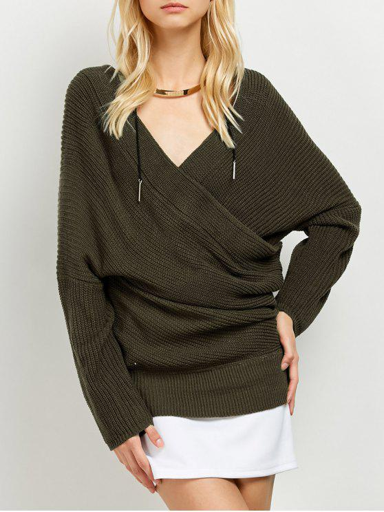 ladies Wrap Front Sweater - ARMY GREEN ONE SIZE