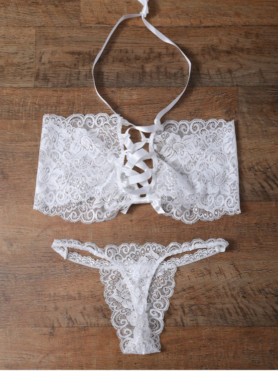 latest Unlined Lace Bandeau Bra and Panty - WHITE L