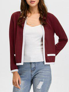 Contrast Trim Open Front Jacket - Wine Red L