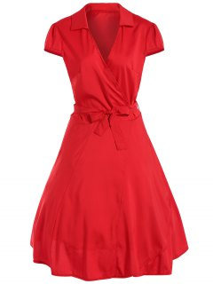 V Neck Tied Belt Surplice Skater Dress - Red M